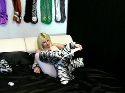 Alice in White Tiger Costume with White Crotchless Pantyhose